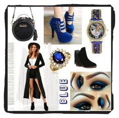 """blue black autumn fall fashion"" by beanpod ❤ liked on Polyvore"