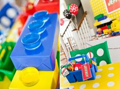 Lego party: centerpieces are wrapped boxes with IKEA votive candle holders filled with Jello!