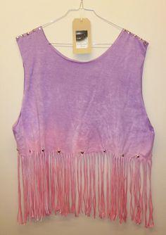Vintage Dip Tie Dye Fringe Tassle Ladies Summer Crop Top Vest Studded Spike Shoulders Oversize. £14.00, via Etsy.