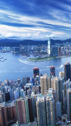 Hong Kong under the beautiful blue sky! Gorgeous view of the city c/o Madison Wai Tibet, Shanghai, City From Above, Harbor City, City C, Qingdao, Amazing Architecture, Architecture Portfolio, Hong Kong
