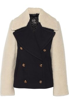 Shearling paneled twill coat | McQ Alexander McQueen | THE OUTNET
