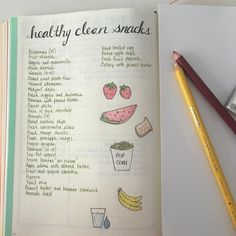 Idea for a bullet journal collection: list of healthy snacks.