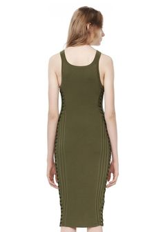 ALEXANDER WANG ENGINEERED RIB TANK DRESS WITH FLIGHTSUIT LACING  KNIT DRESS Adult 12_n_a