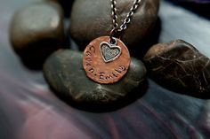 SALE - Heart Necklace - Stacked - Mixed Metal - Girls Jewelry - Hammered Necklace - Textured Necklace - Personalized Necklace on Etsy, $14.23