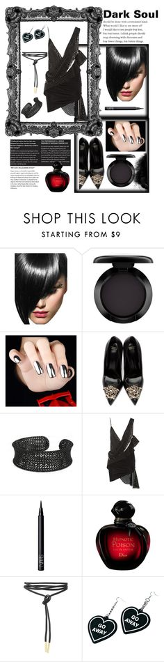 """Dark Soul"" by essyvinc ❤ liked on Polyvore featuring MAC Cosmetics, Versace, Anthony Vaccarello, NARS Cosmetics and Witch Worldwide"