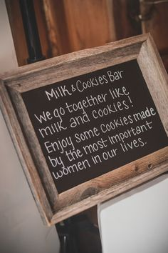 """Sweet sign. But maybe change it to """"we go together like (soy) milk and cookies.""""  Just to be kind to Uncle M"""