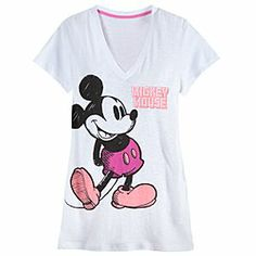 Disney Mickey Mouse Tee for Women | Disney StoreMickey Mouse Tee for Women - You'll love the smart sketch-style of the illustration on this v-neck Mickey tee. Pink trim and soft, 100% cotton comfort make this a top-drawer choice.
