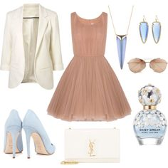 Blue Belle by zachariah-miller on Polyvore featuring polyvore, fashion, style, Lara Khoury, Dee Keller, Yves Saint Laurent, Alexis Bittar, Kendra Scott, Linda Farrow and Marc Jacobs