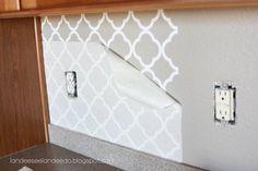 Kitchen backsplash, pantry or bathroom upgrade - vinyl // Much faster than stenciling!