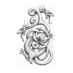 Smok, ale interesuje mnie taki tatuaż bez wypełnienia... Co sądzicie? Zrobiłam bym go na łopatce.... http://www.wzorytatuazy.net/tatuaz/988_splatane_smoki.html #tatuaz