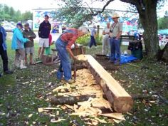 ▶ Nancy Today: Squaring up a log by hand - YouTube