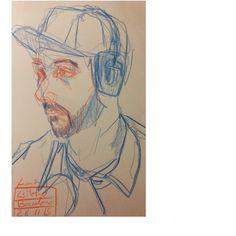 #red #blue #pencil #favercastell #metrobcn #metro #tmb #subway #undergrownd #headphones #people #barcelona #sketch #sketchbook #drawing #canson #usk #urbansketching #urbansketch #locationdrawing by francescricart
