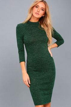Lulus Exclusive! The next wonder of the world, the Modern Marl Dark Green Bodycon Midi Dress will complement your curves like nothing before! Soft and slightly fuzzy marl navy blue knit starts at a chic mock neck, above fitted, three-quarter sleeves and a bodycon bodice. The hourglass-enhancing skirt ends at the perfect midi length.