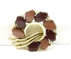 Lisner Brown Thermoset Lucite Gold Tone Brooch Tan Pin Designer Signed Vintage Costume Jewelry Shawl Flower Wreath Gift Ideas Teardrop by TreasureTrovebyTish on Etsy