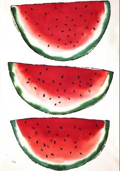 Luli Sanchez. A great idea for a silkscreen onto a tea towel. I love the brightness captured in this watermelon print.