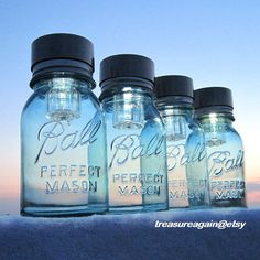 Mason Jars Solar Lights 4 Outdoor Mason Jar by treasureagain, $75.00