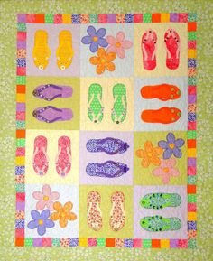 Fun, applique quilt pattern for Summer. Fat quarter friendly! Flip-Flop Jumble Quilt Pattern CTG-127 by Cottage Quilt Designs - Rochelle Martin.  Check out more of our quilt patterns. https://www.pinterest.com/quiltwomancom/quilts/  Subscribe to our mailing list for updates on new patterns and sales! http://visitor.constantcontact.com/manage/optin?v=001nInsvTYVCuDEFMt6NnF5AZm5OdNtzij2ua4k-qgFIzX6B22GyGeBWSrTG2Of_W0RDlB-QaVpNqTrhbz9y39jbLrD2dlEPkoHf_P3E6E5nBNVQNAEUs-xVA%3D%3D
