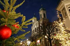 "Christmas fever in Lucerne, Switzerland.......in the picture you can see the famous ""Jesuit Church"""