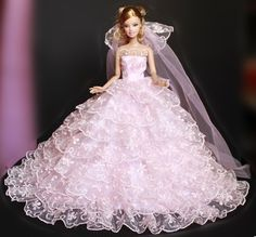 New Fashion Handmade Barbie Doll Princess/Gown Dress  Wedding Clothes DD003. Barbie is a registered trademark of Mattel, Inc.