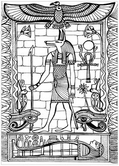 Anubis, God of Ancient Egypt - Egypt & Hieroglyphs Coloring Pages for Adults - Just Color Ancient Egyptian Clothing, Ancient Egyptian Religion, Ancient Egypt Art, Egyptian Symbols, Egyptian Art, Egyptian Fashion, Egyptian Mythology, Ancient History, Coloring Book Art