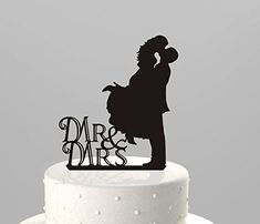 Mr Mrs Kissing Couple Silhouette Acrylic Wedding Cake Topper Unik Occasions