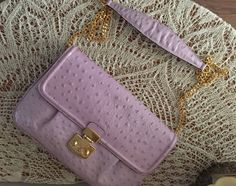 Lilac leather clutch, trendy ostrich leather, evening bag, spring 2015 color, shoulder bag, leather pouch, wallet, small leather purse