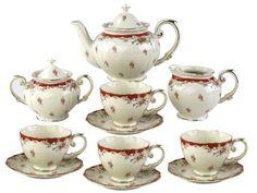 Gracie China by Coastline Imports Vintage Porcelain Tea Set, Red Rose Antique Tea Sets, Tea Sets Vintage, Antique Gold, Vintage Teapots, Vintage Ideas, Antique China, Rare Antique, Vintage Green, Vintage Antiques