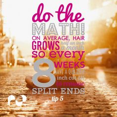 When I am growing my clients hair with them we make a plan. Hair grows on average 1/2 an inch a month. So every 8 weeks we trim 1/4 of an inch off to keep the split ends at bay and you have still gained 3/4 of an inch growth. Simples......