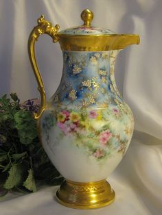 Stunning 1800's French T Limoges Chocolate Pot/Teapot Dragon Handle Gorgeous Hand Painted Floral Sprays Delicate Forget-me-nots Exceptional Raised Enameled Pearl Beading Gold Leaf Artistry