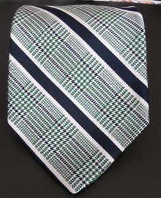 Brooks Brothers Men's Silk Neck Tie Striped Green Black White USA 56 In Long #BrooksBrothers #NeckTie