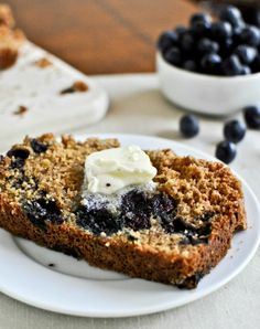 Whole Wheat Blueberry Muffin Bread | howsweeteats.com
