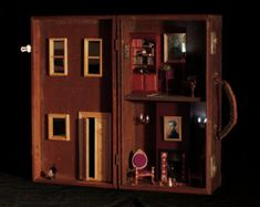 Ähnliche Artikel wie Vintage Suitcase Dollhouse: Upcycled Gorgeous Unique Dollhouse Made From Antique Engineer's Case auf Etsy Kelly Wearstler, Battery Operated Lamps, Polymer Clay Cake, Vintage Suitcases, Vintage Luggage, Timber Door, Built In Shelves, Shabby Cottage, Antique Shops