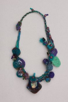 Teal purple felted necklace, Mixed media jewelry, woven with wooden beads, OOAK