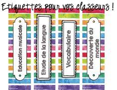 étiquettes classeurs