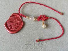 红红火火过大年~红绳系列 第19步 Macrame Jewelry Tutorial, Micro Macrame, Kirigami, Photo Tutorial, Beads, Stone, Bracelets, Crafts, Handmade