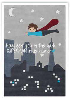 Glow in the dark vloerkleed SUPERMAN