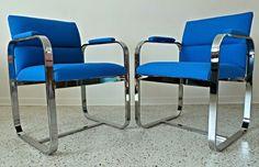 Mid century modern restored Milo Baughman Thayer Coggin blue tweed chrome chairs #MidCenturyModern #MiloBaughmanforTahyerCoggin