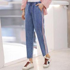 Women's Clothing Stretch Jeans Women 2019 Spring Summer New Drill Diamond High Waist Nine Points Jeans Girls Lady Streetwear Denim Pants Trousers