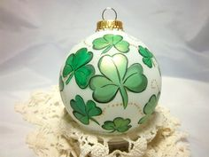 Check out this item in my Etsy shop https://www.etsy.com/listing/226197163/shamrock-ornament-hand-painted-st