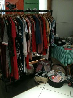 Vintage clothing market stall womenswear
