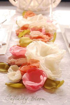 Rustic Wedding Fabric Flower Centerpiece Long by InfinityBloom, €37.50