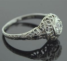 Antique Engagement Ring - 18k White Gold and European Cut Diamond