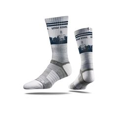 Our Strideline WVU WV Logo Crew Socks features sweat-wicking fibers, select terry pads, a patented heel strap, and a unique blend of technical yarns. The digital ink technology and distinct Strideline Socks, Grey Socks, Black Socks, Gonzaga University, University Of Alabama, Georgetown University, Bb Logo, Michael Bennett, Grey Ribbon