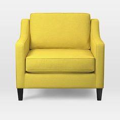 Paidge Arm Chair Poly Twisted Slub Citrus Yellow Taper Pecan