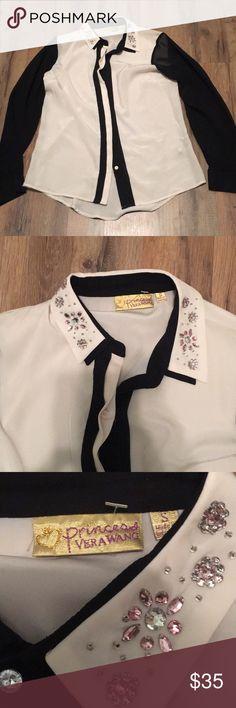 Vera Wang jeweled collar top size s Vera Wang jeweled collar top size s Vera Wang Tops Blouses