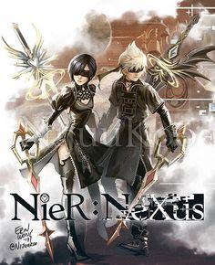 NieR: Nexus (Automata) x Kingdom Hearts Xion & Roxas Xion Kingdom Hearts, Kingdom Hearts Crossover, Hack And Slash, Kh 3, Kindom Hearts, Fandom Crossover, Final Fantasy Xv, Manga, Game Art