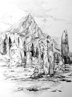Middle earth traveler Waiting a friend Landscape Sketch, Landscape Drawings, Fantasy Landscape, Fantasy Art, Ink Pen Drawings, Drawing Sketches, Line Art Lesson, Mountain Sketch, Witch Art