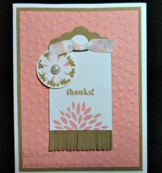 Loving the new Fringe scissors!  This card features Occasions Catalog and Sale-A-Bration product.   Stampin' Up!, Scalloped Tag Topper Punch, Decorative Dots Embossing Folder, Big Shot