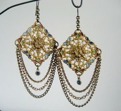 Victorian gypsy earrings  antique assemblage earrings by BabilandBijouAnnex, $63.00