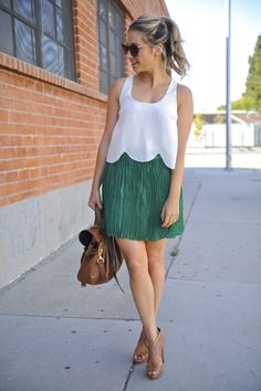 Joie silk scalloped top, Club Monaco pleated skirt, Prada heels, Mulberry bag, & Elizabeth and James sunglasses via cupcakesandcashmere. Great summer-to-fall look.